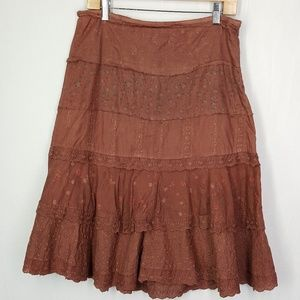 Angie boho style skirt, brown skirt, size Large.